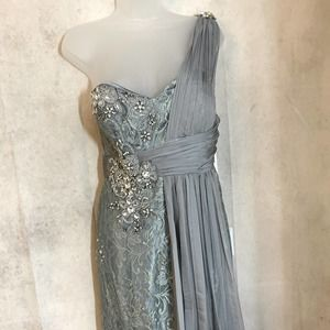 GLS~ Lace Gown with Chiffon Overlay